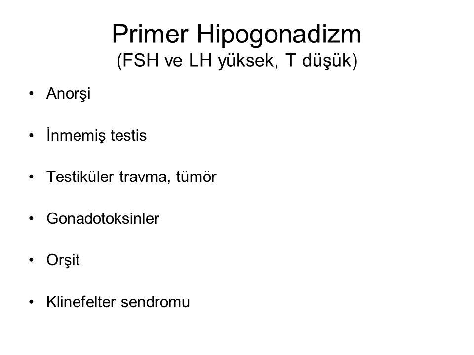 Primer Hipogonadizm (FSH ve LH yüksek, T düşük)