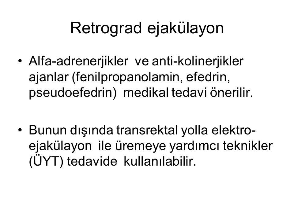 Retrograd ejakülayon Alfa-adrenerjikler ve anti-kolinerjikler ajanlar (fenilpropanolamin, efedrin, pseudoefedrin) medikal tedavi önerilir.