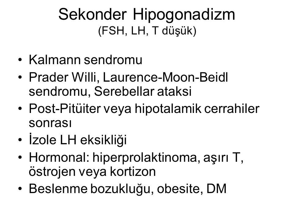 Sekonder Hipogonadizm (FSH, LH, T düşük)