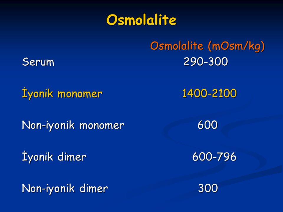 Osmolalite Osmolalite (mOsm/kg) Serum 290-300 İyonik monomer 1400-2100
