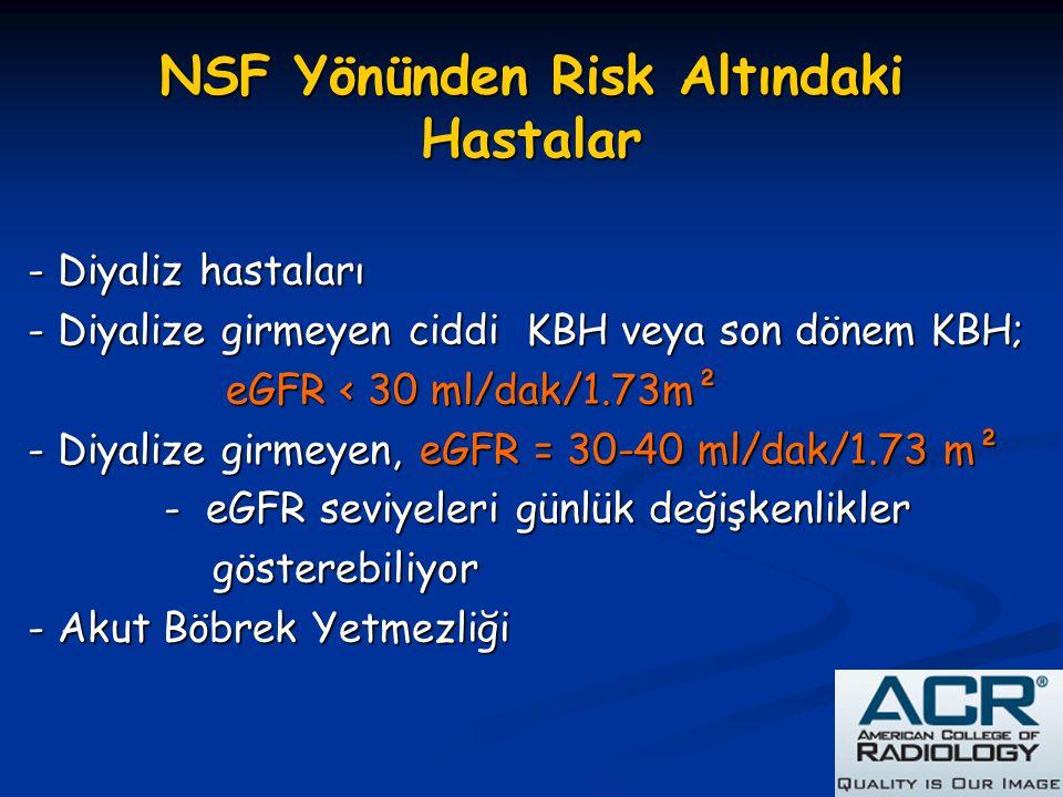 NSF Yönünden Risk Altındaki Hastalar