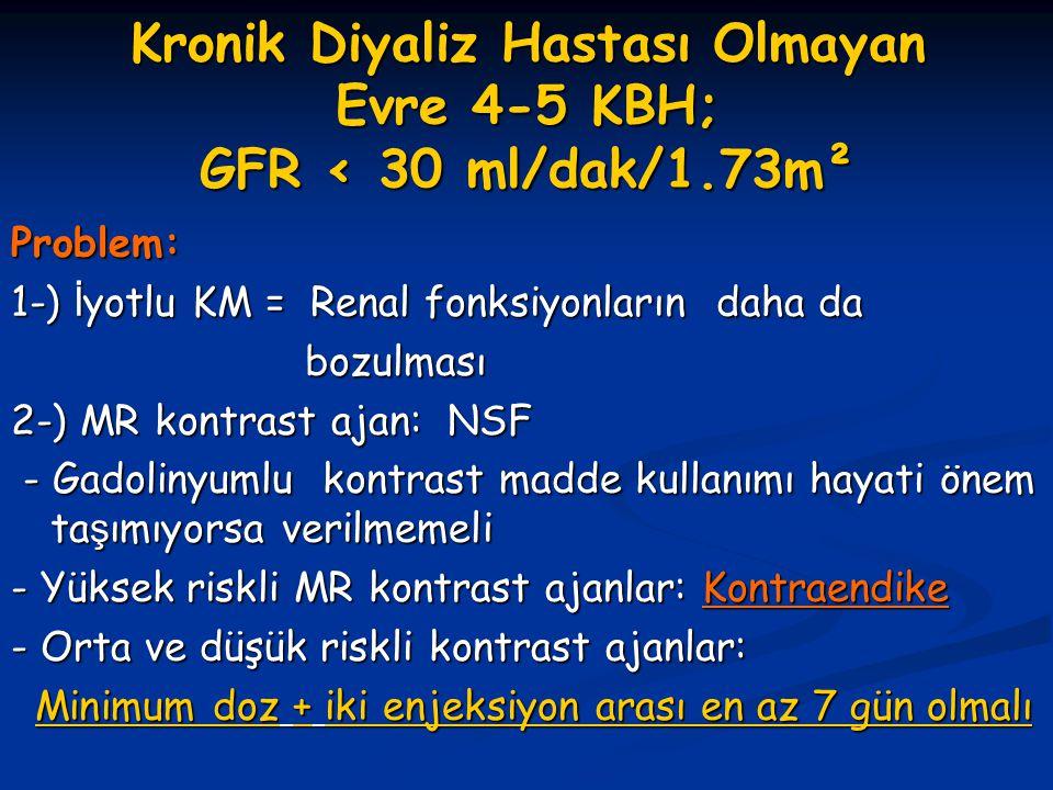 Kronik Diyaliz Hastası Olmayan Evre 4-5 KBH; GFR < 30 ml/dak/1.73m²