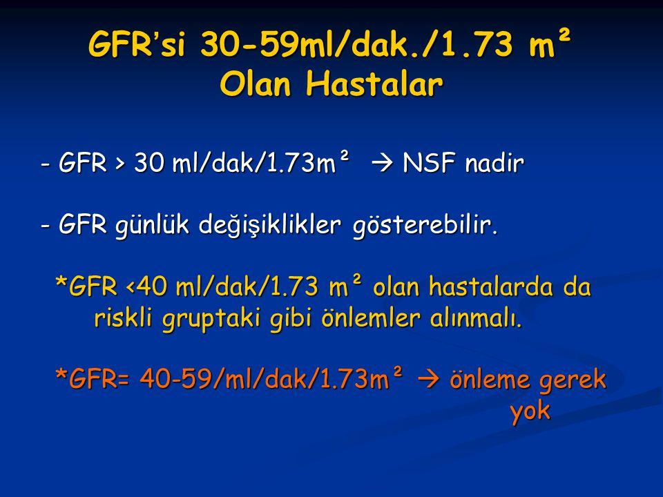GFR'si 30-59ml/dak./1.73 m² Olan Hastalar