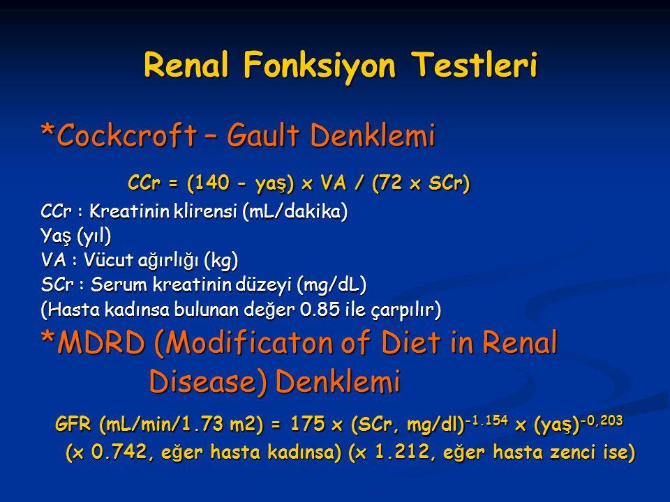 Renal Fonksiyon Testleri