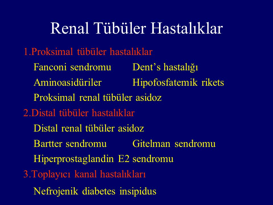 Renal Tübüler Hastalıklar