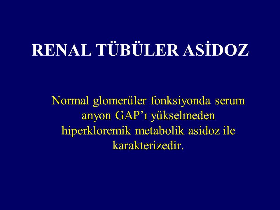 RENAL TÜBÜLER ASİDOZ Normal glomerüler fonksiyonda serum anyon GAP'ı yükselmeden hiperkloremik metabolik asidoz ile karakterizedir.