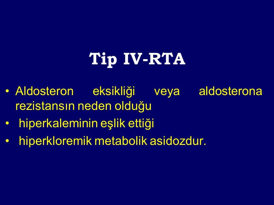Tip IV-RTA Aldosteron eksikliği veya aldosterona rezistansın neden olduğu. hiperkaleminin eşlik ettiği.