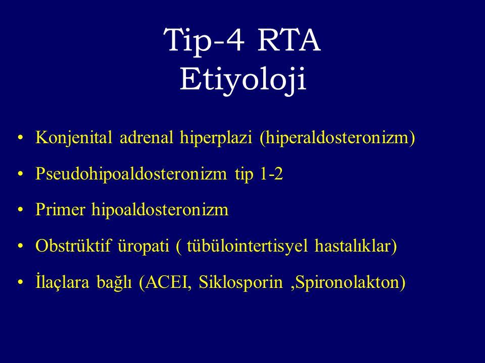 Tip-4 RTA Etiyoloji Konjenital adrenal hiperplazi (hiperaldosteronizm)