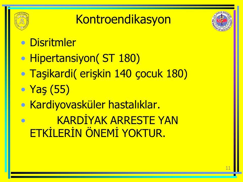 Kontroendikasyon Disritmler Hipertansiyon( ST 180)