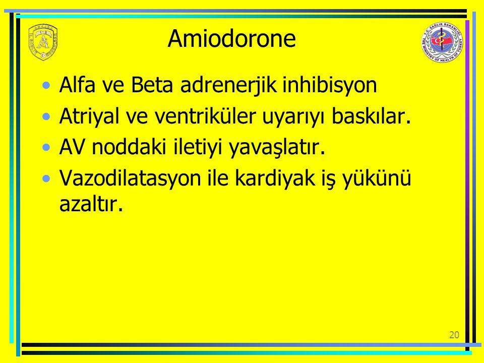 Amiodorone Alfa ve Beta adrenerjik inhibisyon