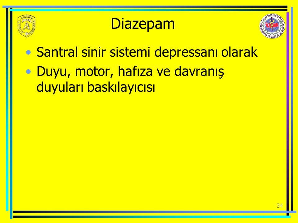 Diazepam Santral sinir sistemi depressanı olarak