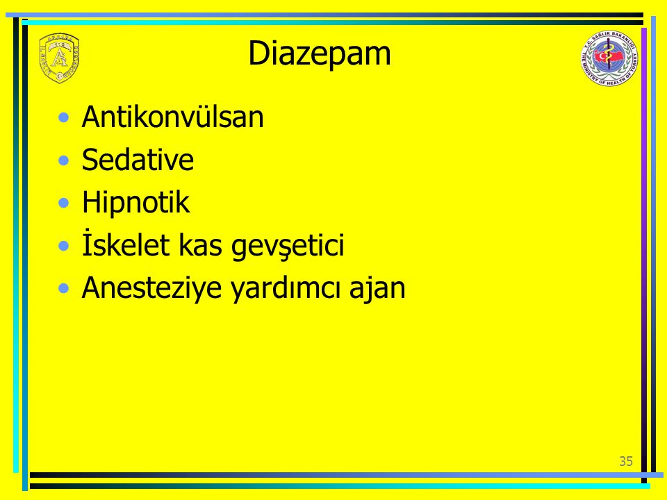 Diazepam Antikonvülsan Sedative Hipnotik İskelet kas gevşetici