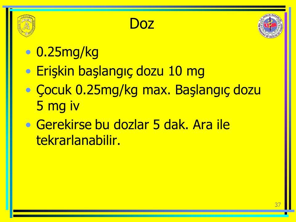 Doz 0.25mg/kg Erişkin başlangıç dozu 10 mg