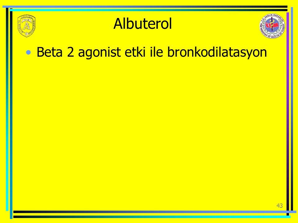Albuterol Beta 2 agonist etki ile bronkodilatasyon