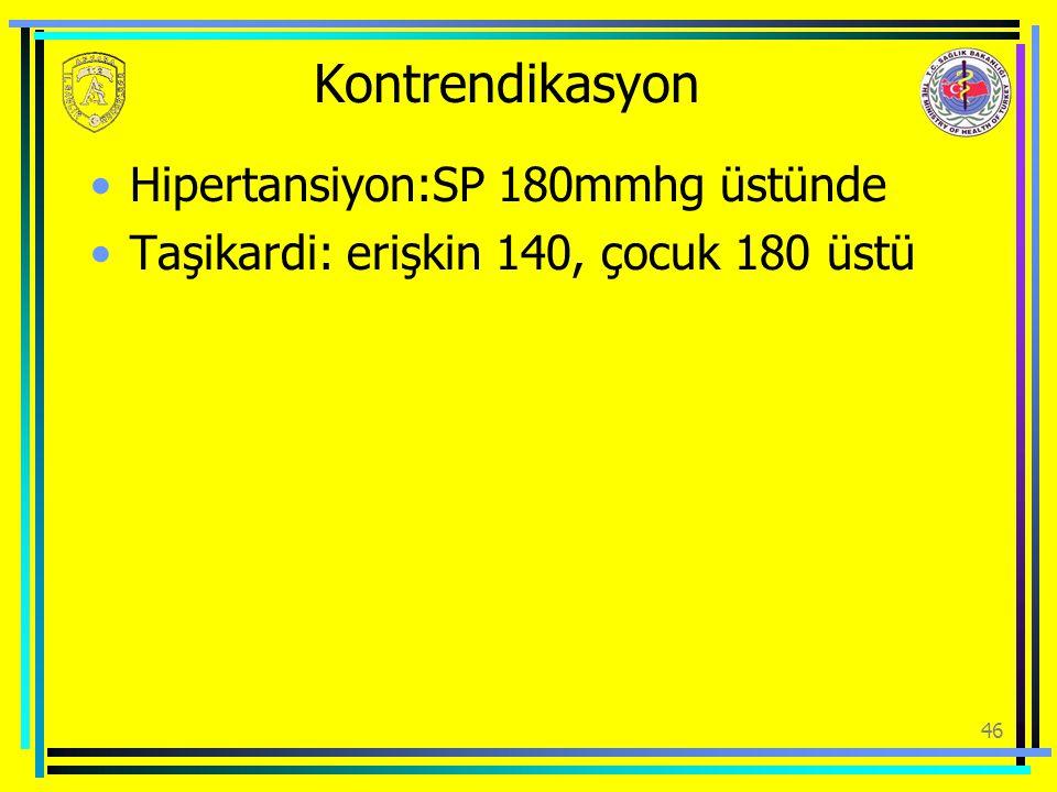 Kontrendikasyon Hipertansiyon:SP 180mmhg üstünde