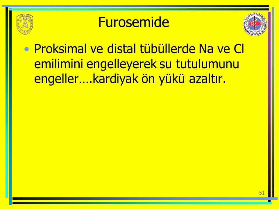 Furosemide Proksimal ve distal tübüllerde Na ve Cl emilimini engelleyerek su tutulumunu engeller….kardiyak ön yükü azaltır.