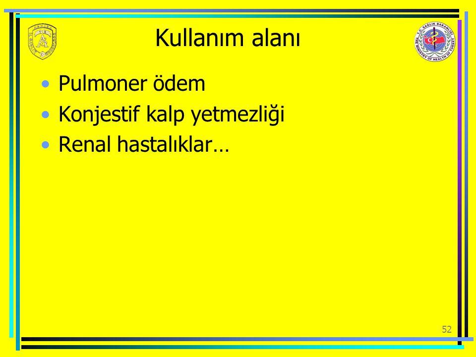 Kullanım alanı Pulmoner ödem Konjestif kalp yetmezliği
