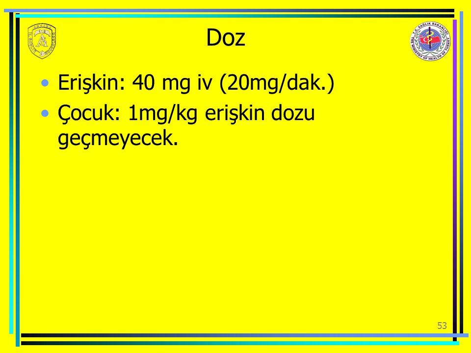 Doz Erişkin: 40 mg iv (20mg/dak.)