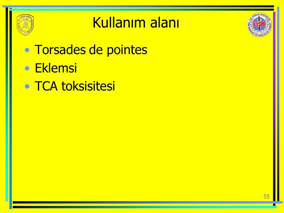 Kullanım alanı Torsades de pointes Eklemsi TCA toksisitesi