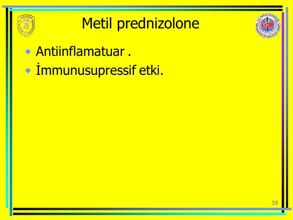 Metil prednizolone Antiinflamatuar . İmmunusupressif etki.