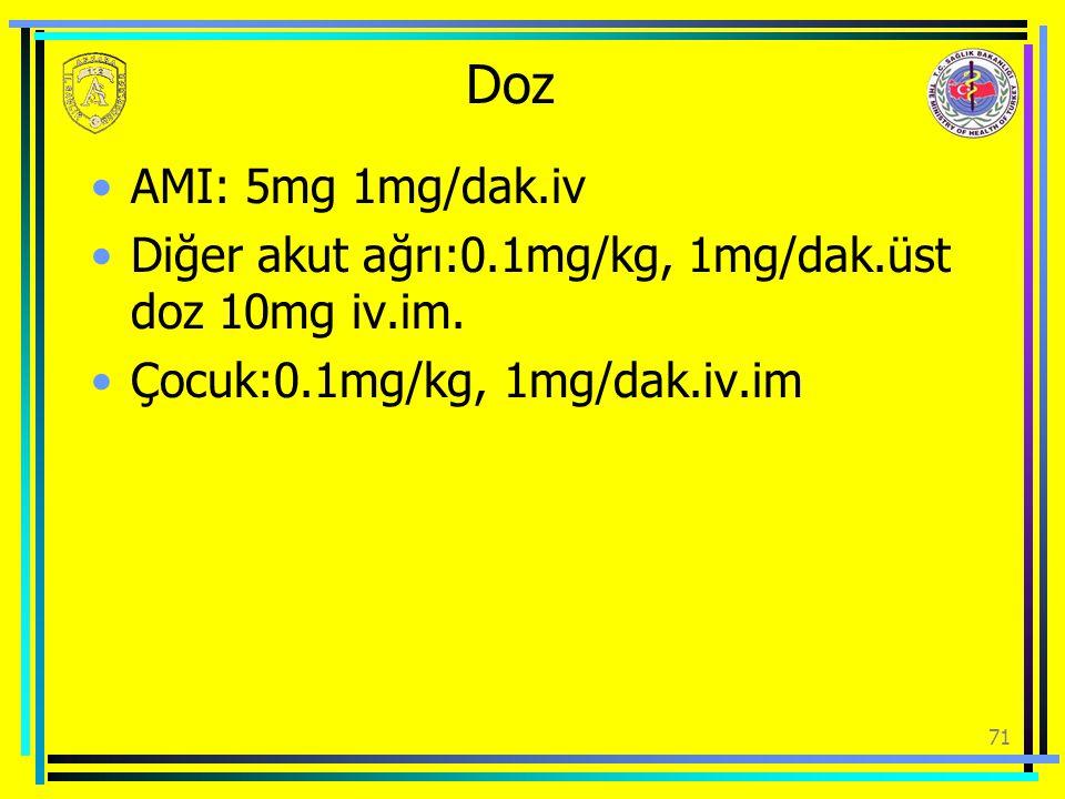 Doz AMI: 5mg 1mg/dak.iv. Diğer akut ağrı:0.1mg/kg, 1mg/dak.üst doz 10mg iv.im.