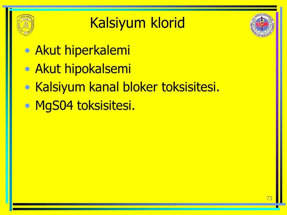 Kalsiyum klorid Akut hiperkalemi Akut hipokalsemi
