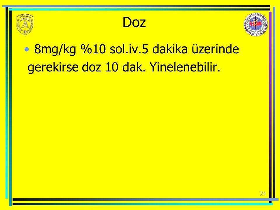 Doz 8mg/kg %10 sol.iv.5 dakika üzerinde