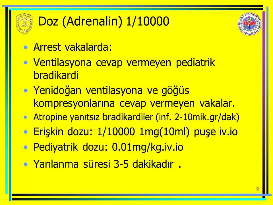 Doz (Adrenalin) 1/10000 Arrest vakalarda: