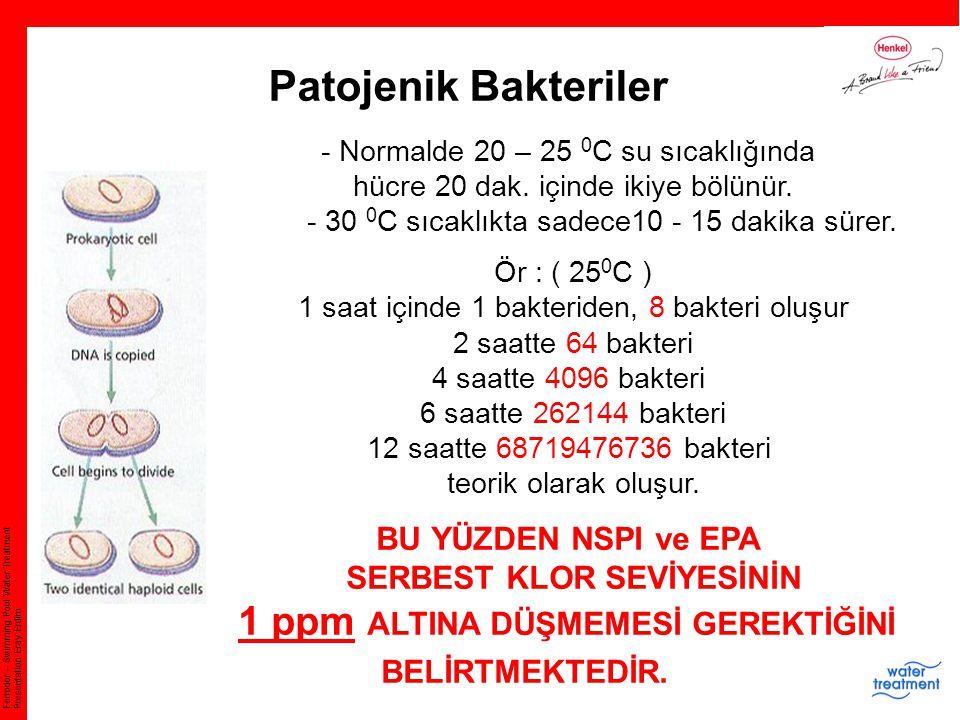 SERBEST KLOR SEVİYESİNİN 1 ppm ALTINA DÜŞMEMESİ GEREKTİĞİNİ