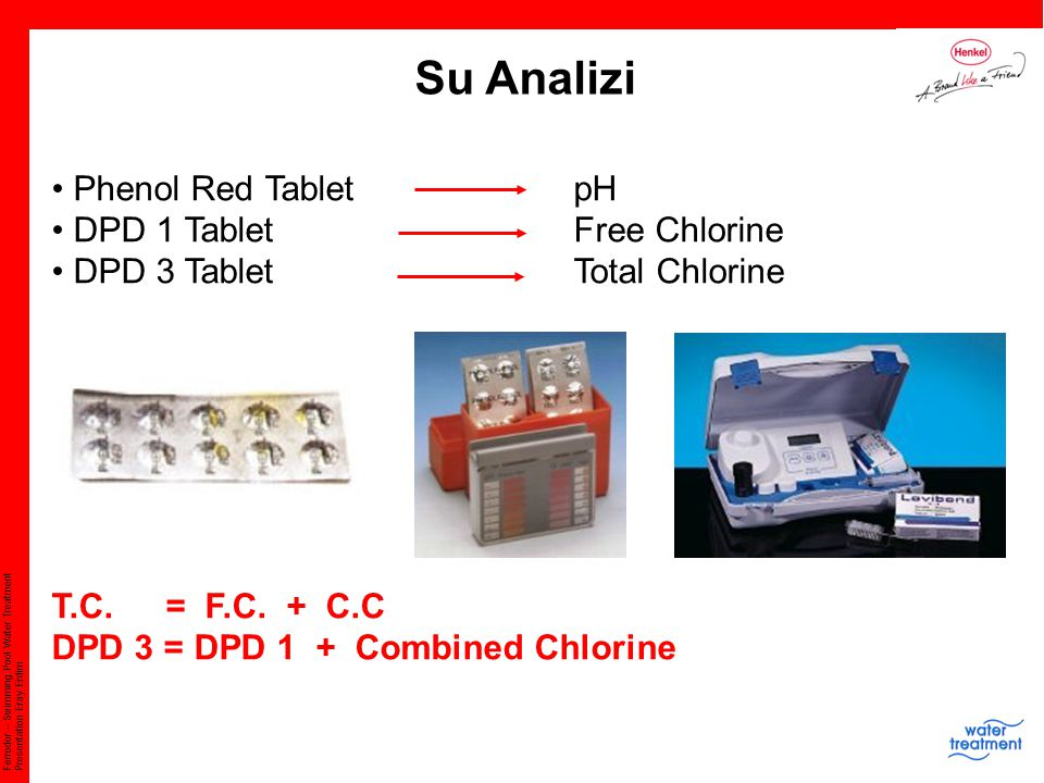 Su Analizi Phenol Red Tablet pH DPD 1 Tablet Free Chlorine
