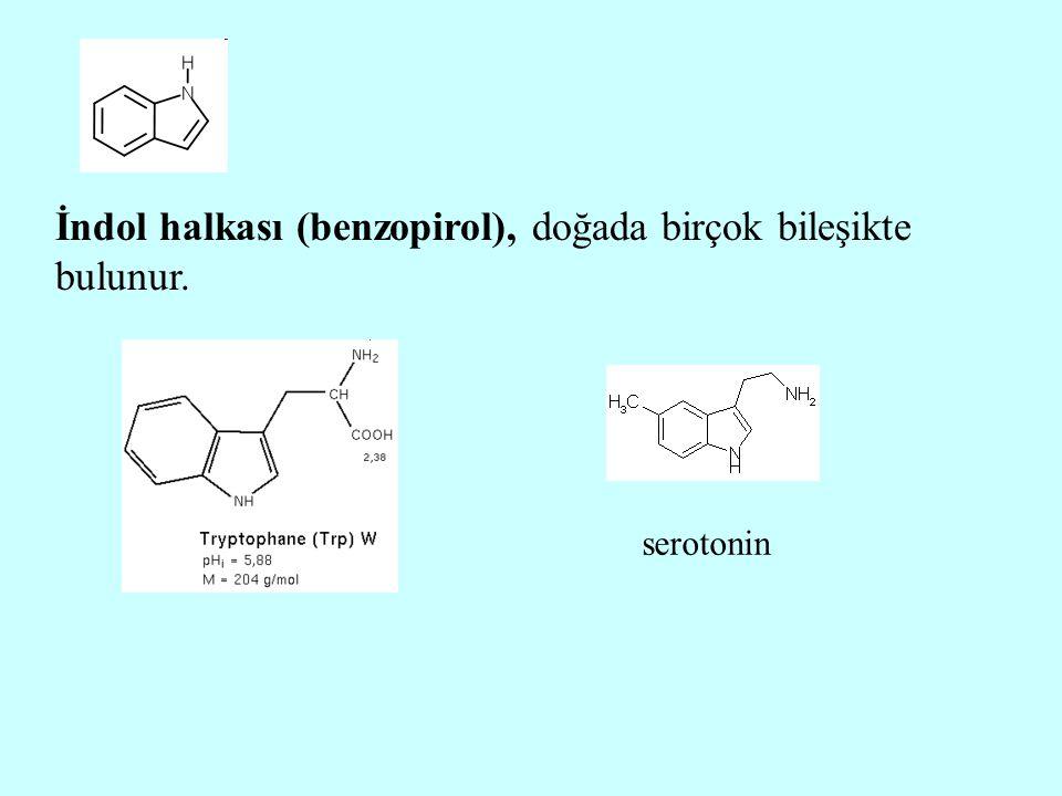 İndol halkası (benzopirol), doğada birçok bileşikte bulunur.