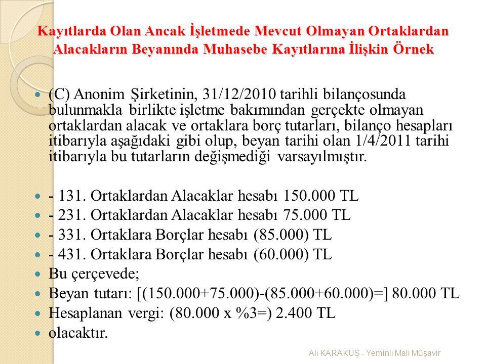 - 131. Ortaklardan Alacaklar hesabı 150.000 TL