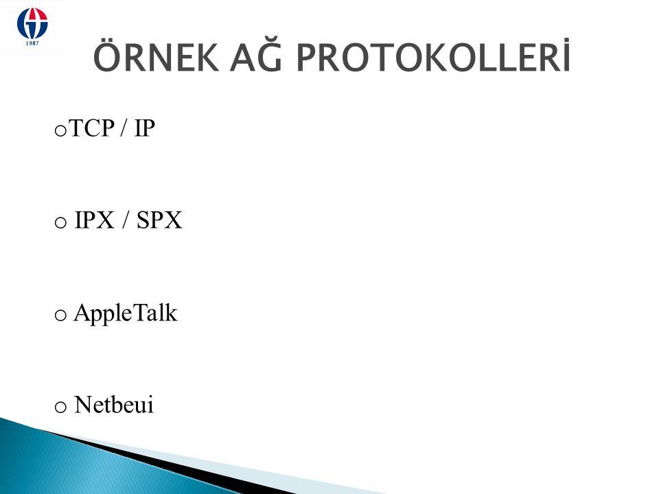 ÖRNEK AĞ PROTOKOLLERİ TCP / IP IPX / SPX AppleTalk Netbeui