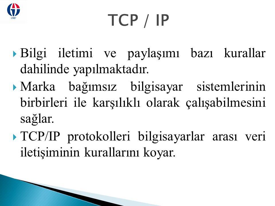 TCP / IP Bilgi iletimi ve paylaşımı bazı kurallar dahilinde yapılmaktadır.