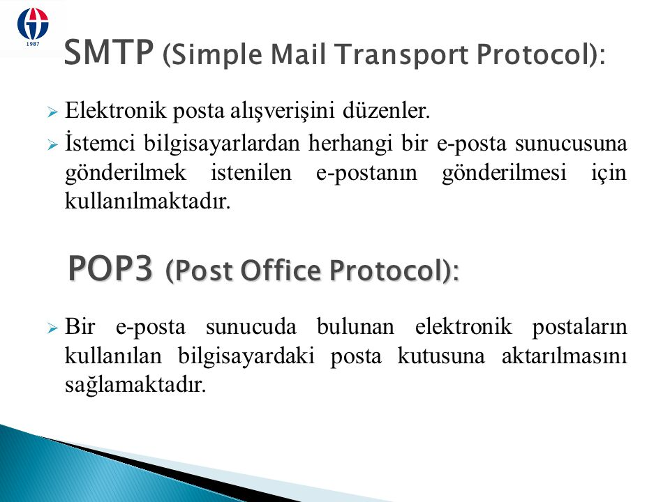 SMTP (Simple Mail Transport Protocol):