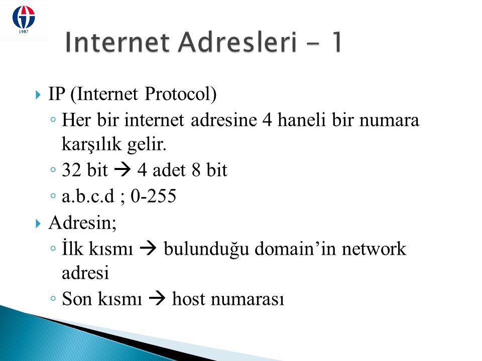 Internet Adresleri - 1 IP (Internet Protocol)