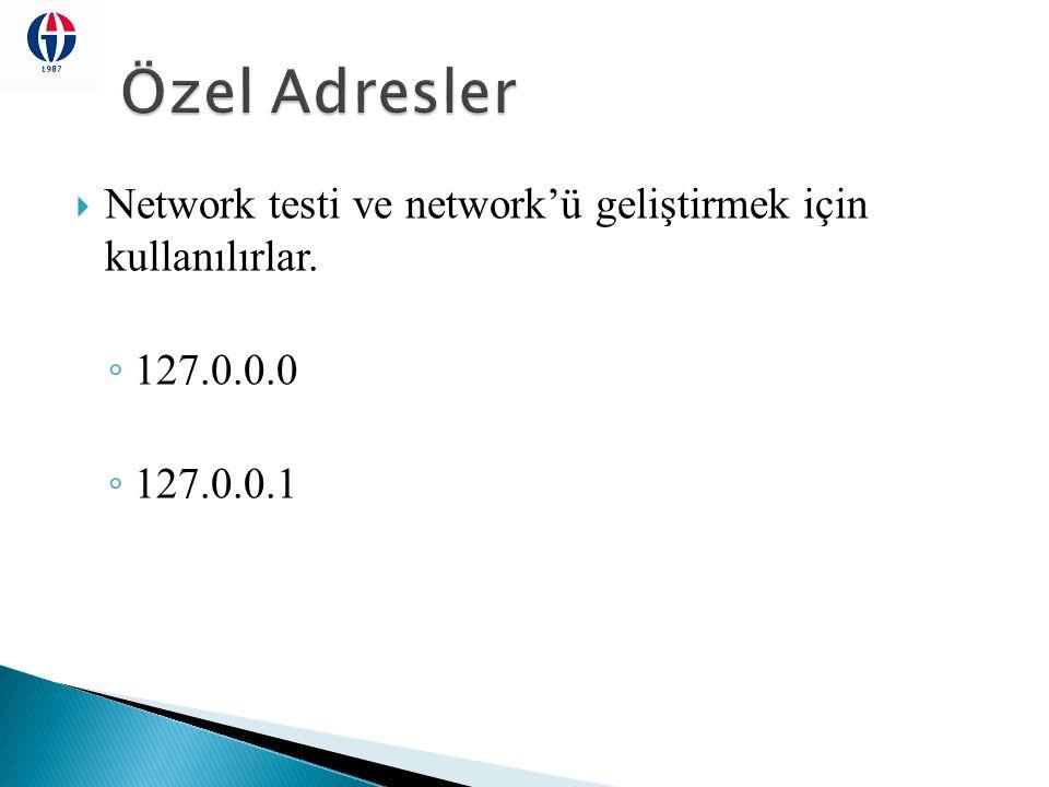 Özel Adresler Network testi ve network'ü geliştirmek için kullanılırlar. 127.0.0.0 127.0.0.1