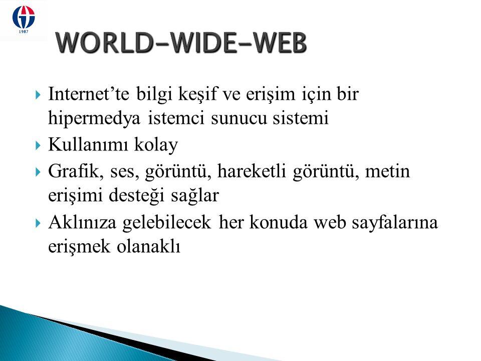 WORLD-WIDE-WEB Internet'te bilgi keşif ve erişim için bir hipermedya istemci sunucu sistemi. Kullanımı kolay.