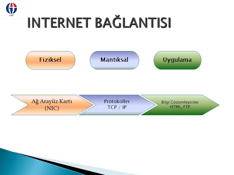 INTERNET BAĞLANTISI Fiziksel Mantıksal Uygulama Ağ Arayüz Kartı (NIC)