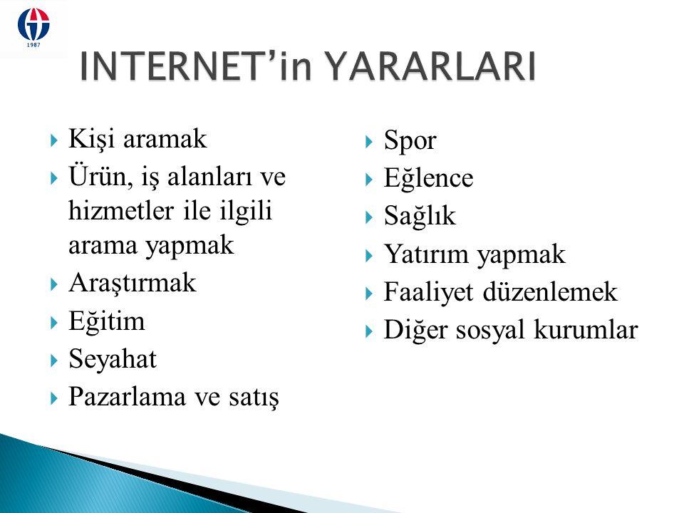 INTERNET'in YARARLARI