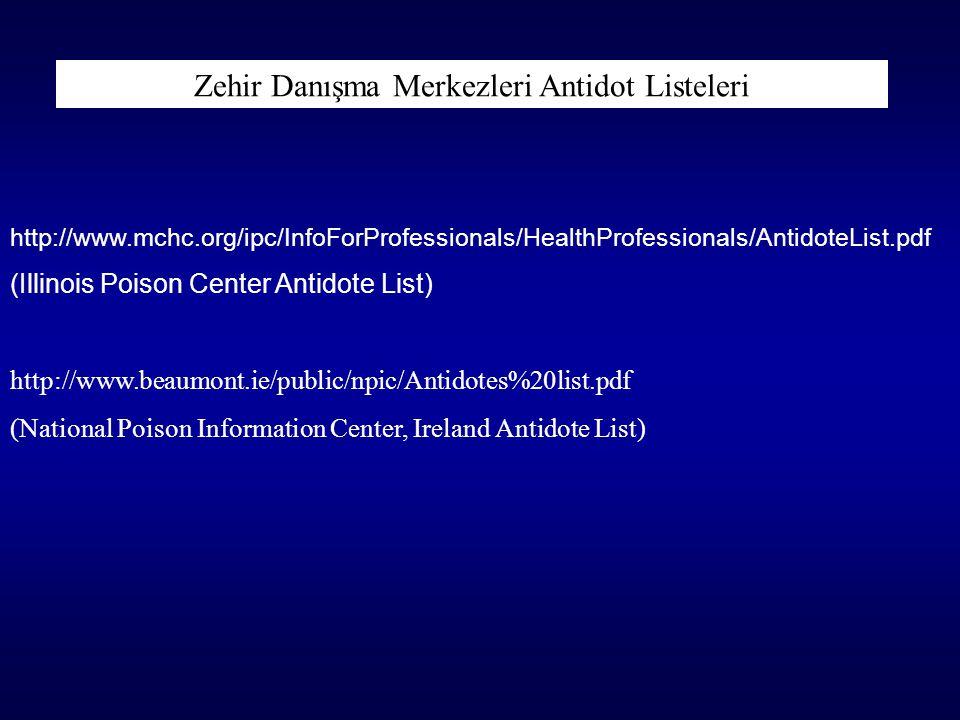 Zehir Danışma Merkezleri Antidot Listeleri