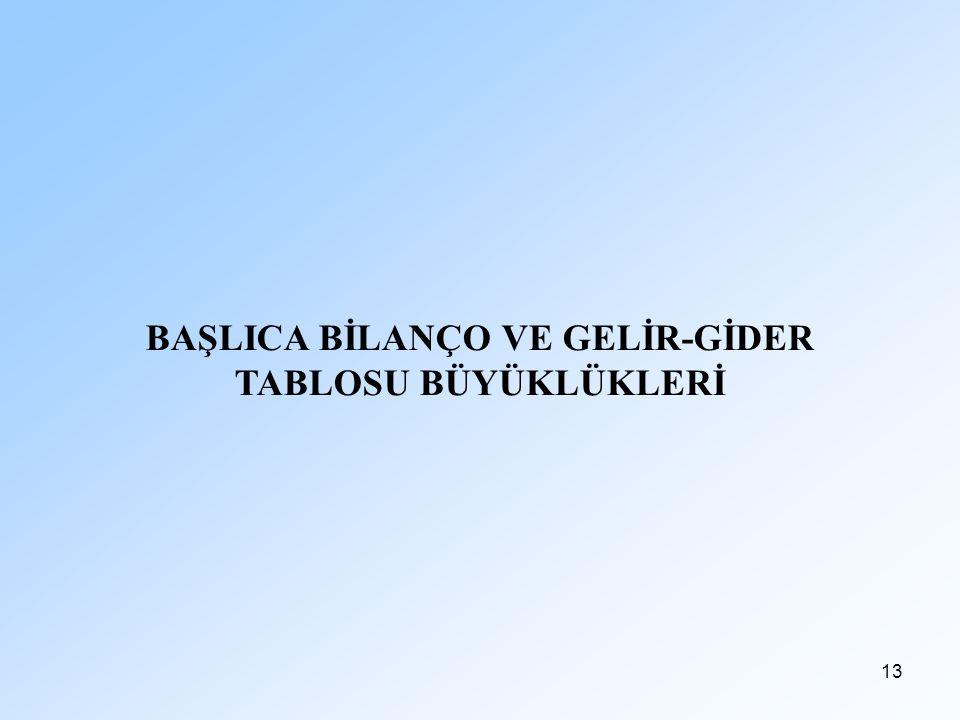 BAŞLICA BİLANÇO VE GELİR-GİDER TABLOSU BÜYÜKLÜKLERİ