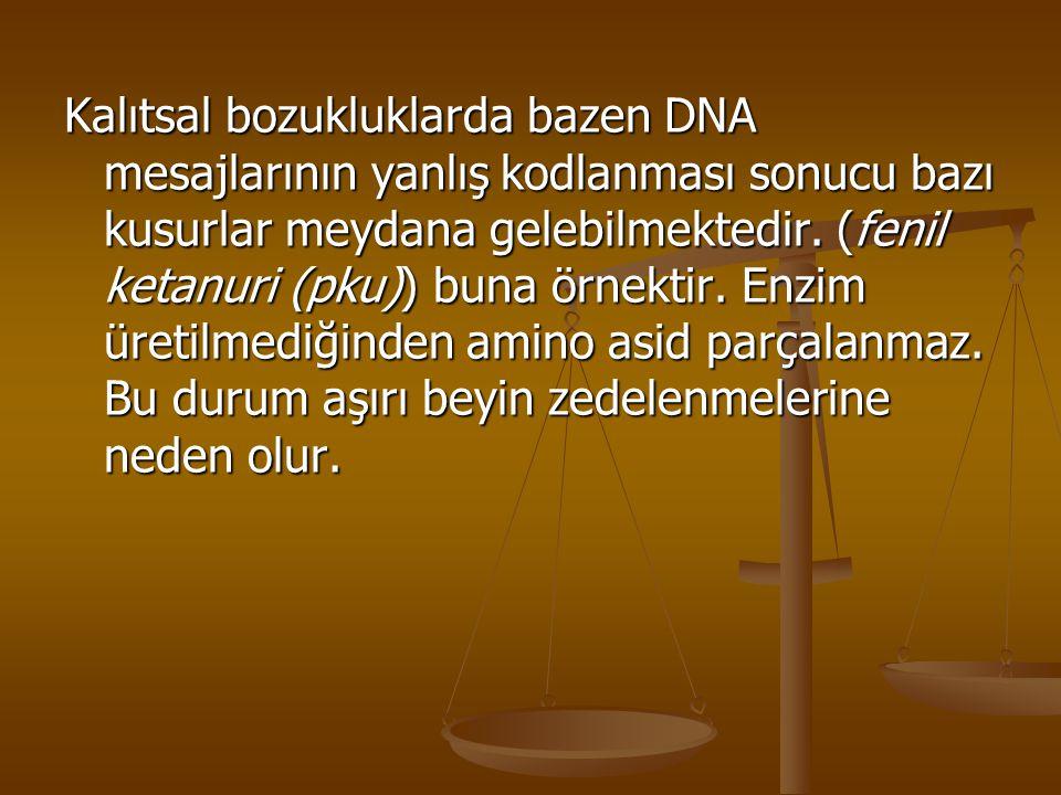 Kalıtsal bozukluklarda bazen DNA mesajlarının yanlış kodlanması sonucu bazı kusurlar meydana gelebilmektedir.