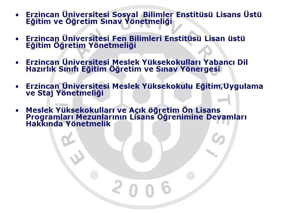Erzincan Üniversitesi Sosyal Bilimler Enstitüsü Lisans Üstü Eğitim ve Öğretim Sınav Yönetmeliği