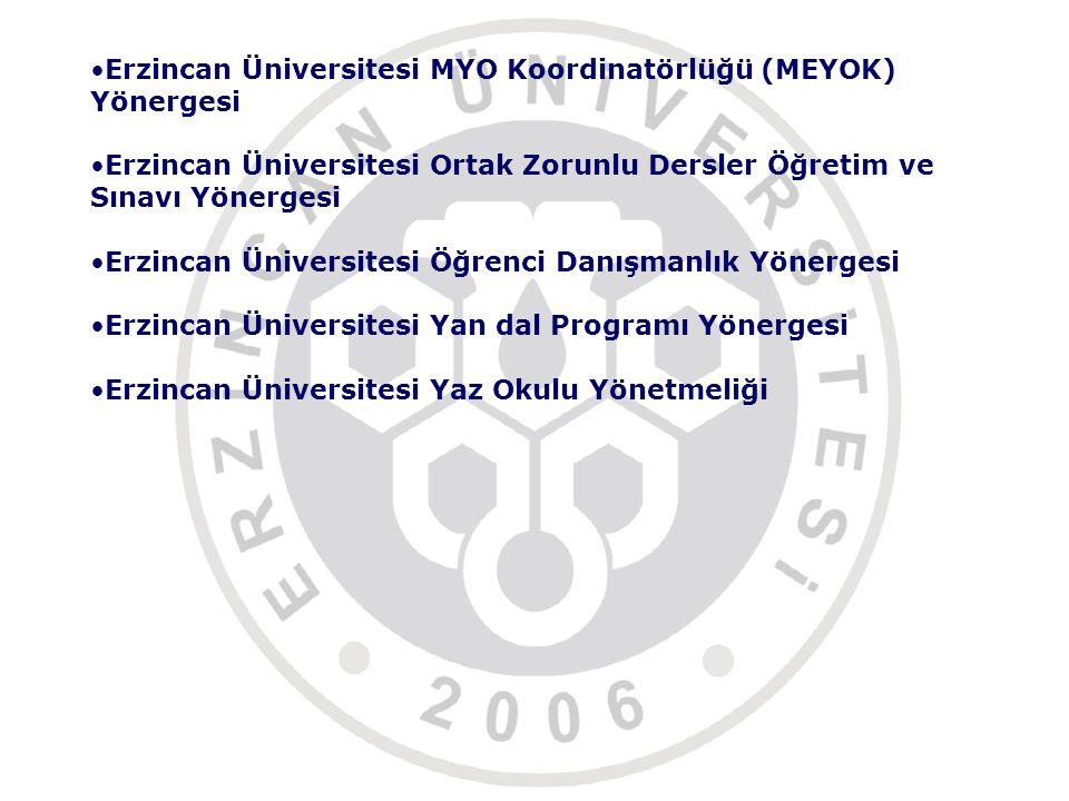 Erzincan Üniversitesi MYO Koordinatörlüğü (MEYOK) Yönergesi
