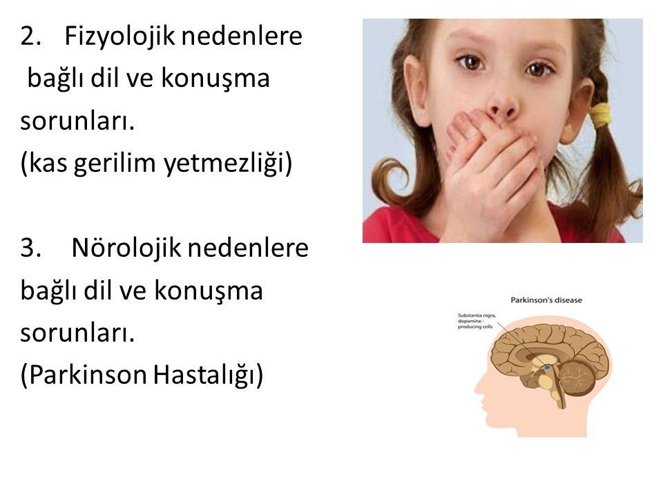 2. Fizyolojik nedenlere bağlı dil ve konuşma. sorunları. (kas gerilim yetmezliği) 3. Nörolojik nedenlere.