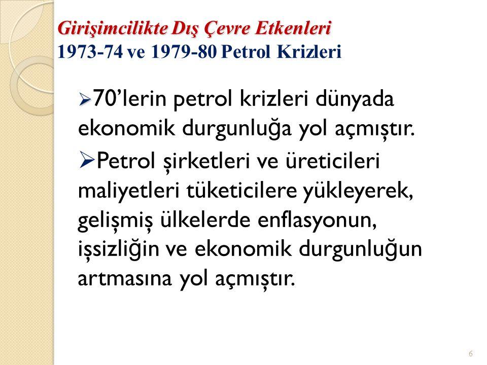 Girişimcilikte Dış Çevre Etkenleri 1973-74 ve 1979-80 Petrol Krizleri