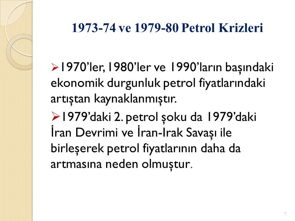 1973-74 ve 1979-80 Petrol Krizleri 1970'ler, 1980'ler ve 1990'ların başındaki ekonomik durgunluk petrol fiyatlarındaki artıştan kaynaklanmıştır.