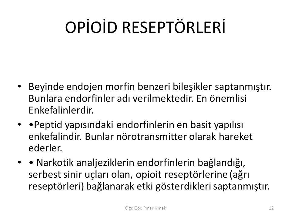 OPİOİD RESEPTÖRLERİ Beyinde endojen morfin benzeri bileşikler saptanmıştır. Bunlara endorfinler adı verilmektedir. En önemlisi Enkefalinlerdir.