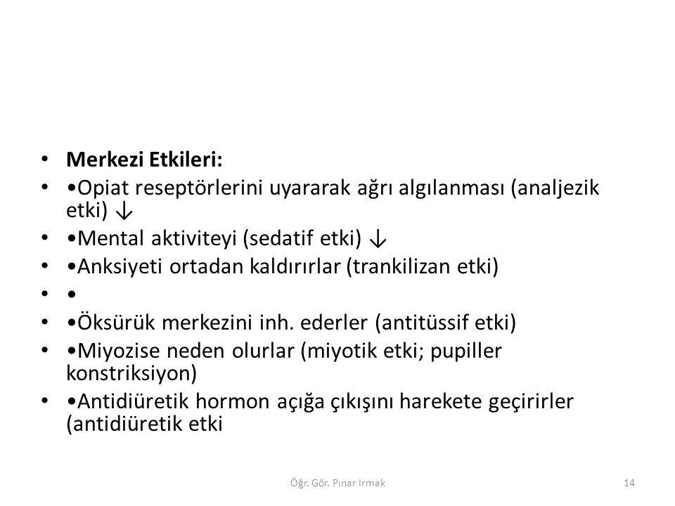 •Opiat reseptörlerini uyararak ağrı algılanması (analjezik etki) ↓
